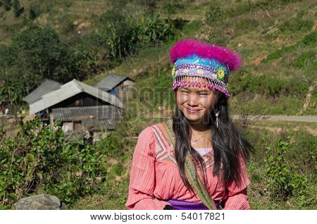 Young Girl Of The Flower Hmong Indigenous . Sapa. Vietnam