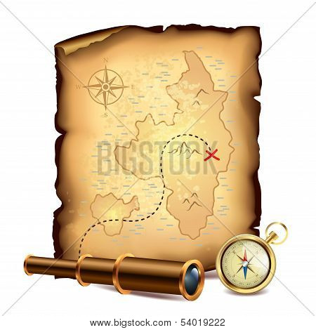 Pirates Treasure Map With Spyglass And Compass poster
