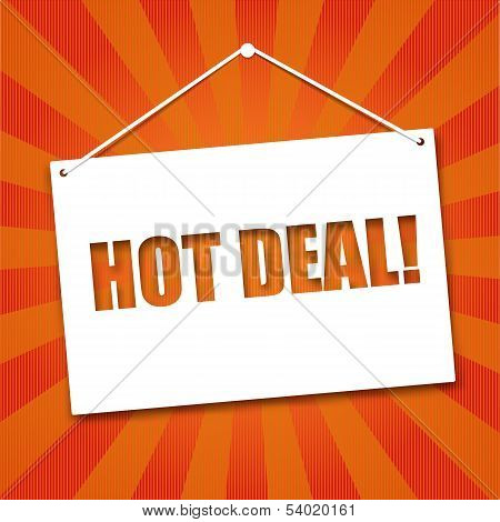 Noteboard with the words Hot deal