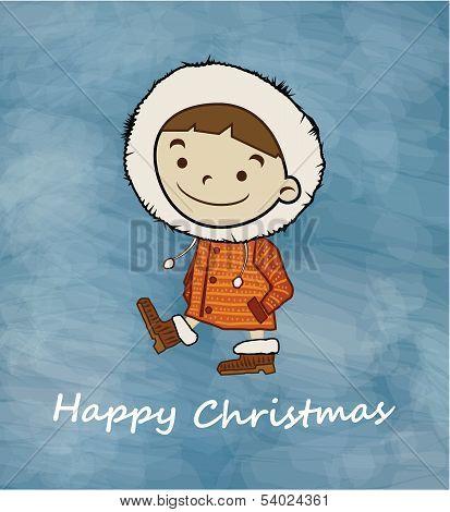 Winter Boy Happy Christmas