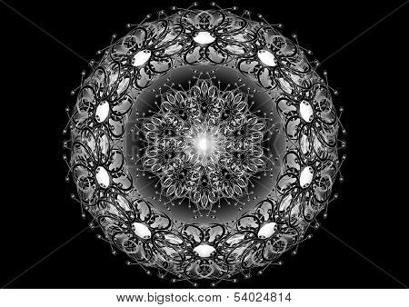 Oval ornament for brooches  on a black background