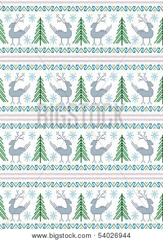 Reindeer with Christmas trees and snowflakes on a white background