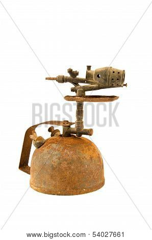 Ancient Rusted  Blowtorch Isolated On White
