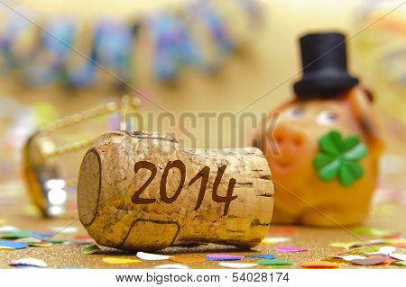 happy new year 2014 with champagne