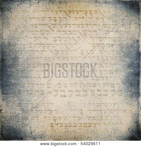 Of The Ancient Hieroglyphs On Vintage Textured Fabric Background