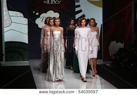 ZAGREB, CROATIA - OCTOBER 18: Fashion model wearing clothes designed by Envy Room on the 'Fashion.hr' show on October 18, 2013 in Zagreb, Croatia.