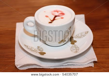 Coffee with decoration on the foam