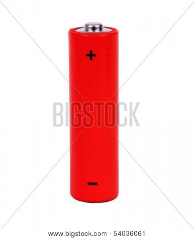red battery with positive and negative signs