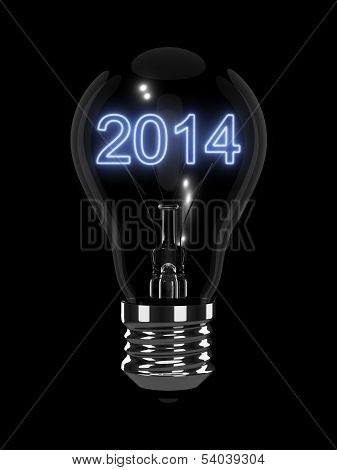New Year 2014 Light Bulb. Isolated On The Black Background