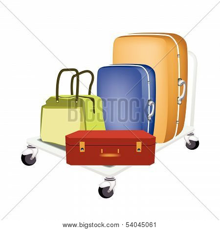 A Hand Truck Loading Luggages And Bag