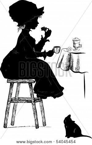 Girl With Coffe And Cake