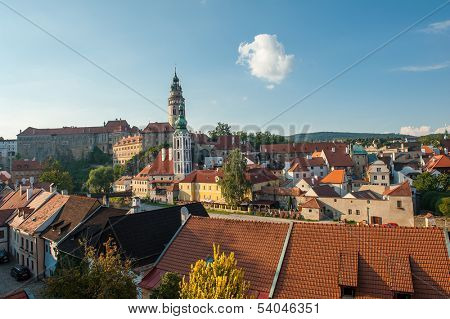 Panoramic view of beautiful Czech city Cesky Krumlov at dusk