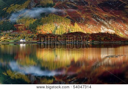 Abstract reflexion of a lake in Highlands, Scotland, Europe