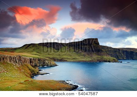 View of Neist Point and rocky ocean coastline, Highlands of Scotland, UK, Europe