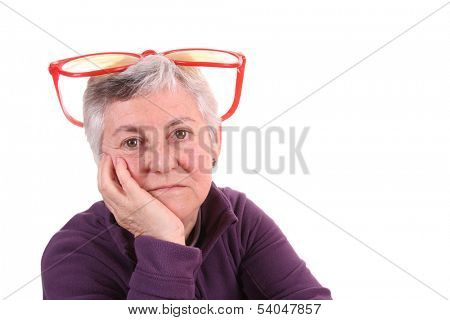 mature Woman with big funny glasses