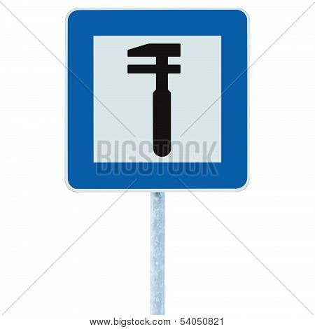 Auto Car Repair Shop Icon, Vehicle Mechanic Fix Service Garage Road Traffic Sign Roadside Pole Post