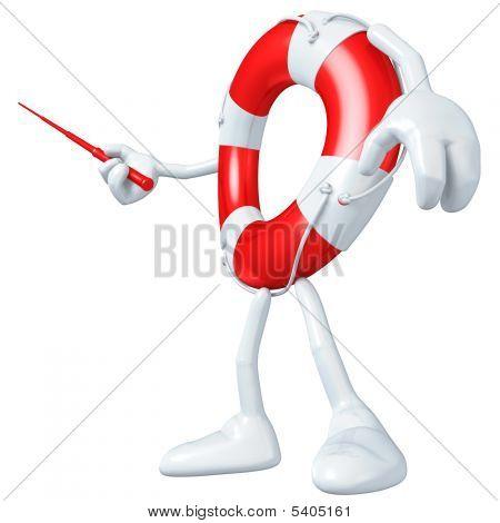 3D Lifebuoy Mascot Figure