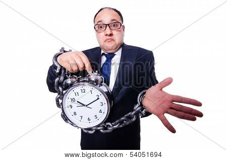 Businessman with clock isolated on white