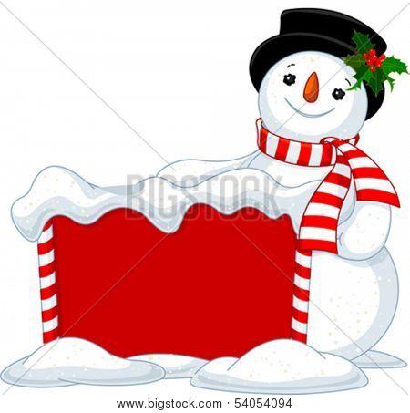 Cute Snowmen near Snowbound Christmas board
