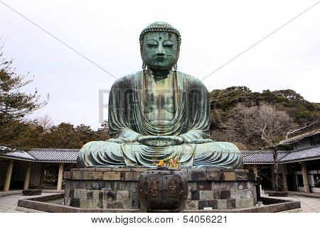 Front View Of Daibutsu Giant Statue In Sitting Position