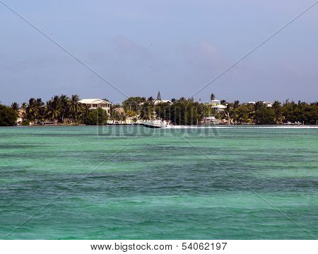 Panoramic view of Caye Caulker waterfront in Belize