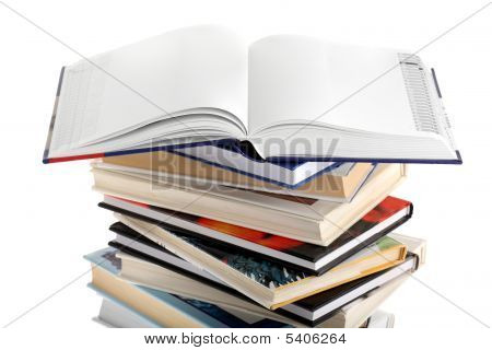 Open Dictionary With Blank Pages On Top Of Book Stack Isolated On White Background