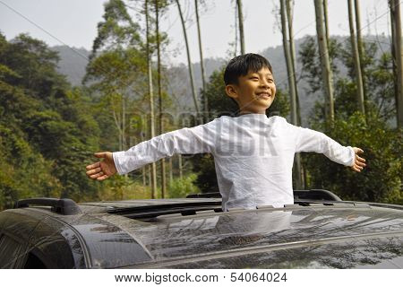Happy Boy Travel In Car