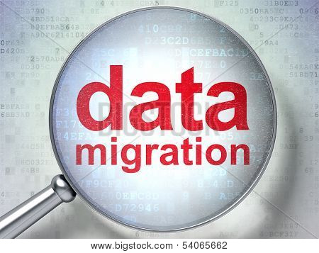 Data concept: Data Migration with optical glass