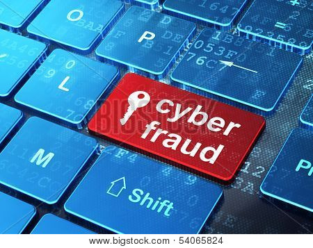 Protection concept: Key and Cyber Fraud on computer keyboard background