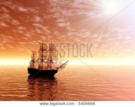 Sunrise. Sailing Ship