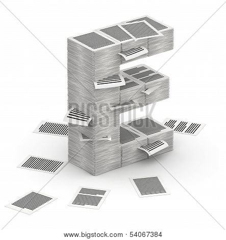 Letter E, Pages Paper Stacks Font 3D Isometry