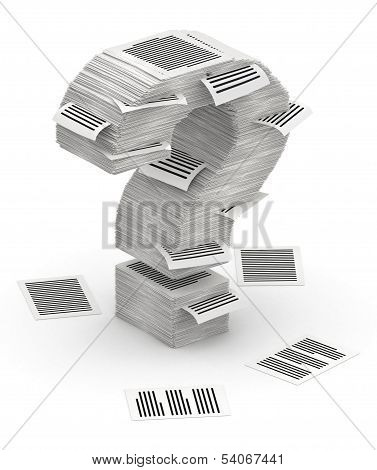 Question Mark From Pages Paper Stacks Font 3D Isometry