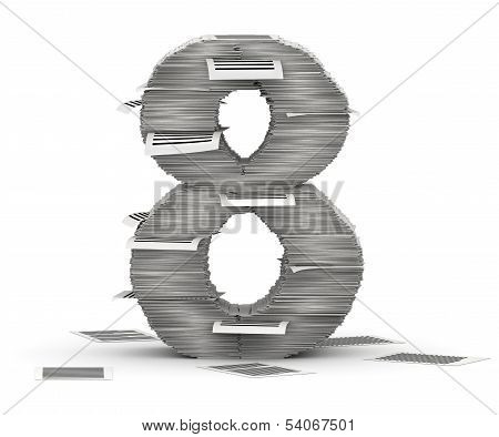 Number 8, Pages Paper Stacks Font