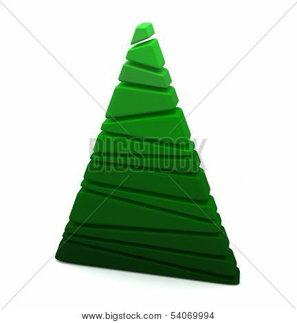 Abstract green Christmas tree 3d