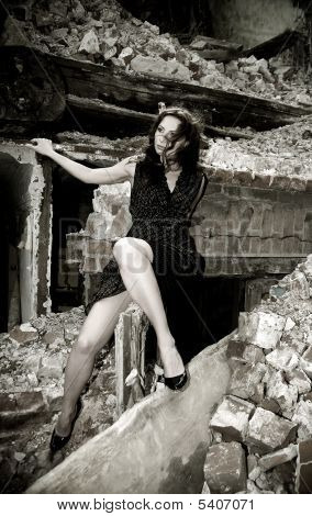 Sexy Woman In Ruins