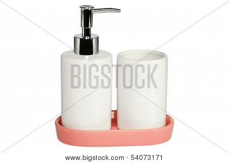 Ceramic Bath Set On White Background