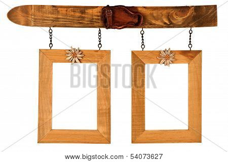 Two Hanged Wooden Photo Frames