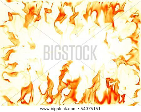 Fire flames on white background