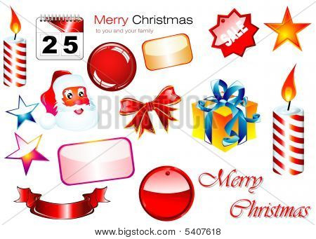 Christmas Design Elements with high contrast colors