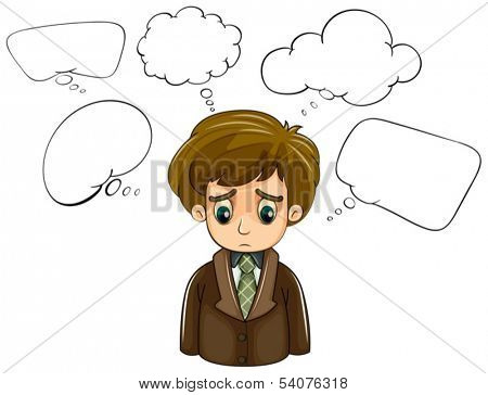 Illustration of a sad man with a brown coat and empty callouts on a white background