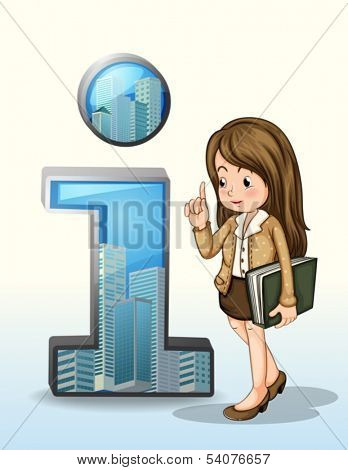 Illustration of a business person beside the number one figure with buildings on a white background