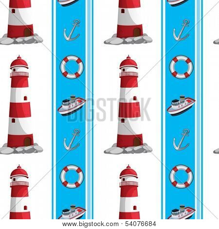 Illustration of a seamless design with lighthouses and other things at the seaport on a white background