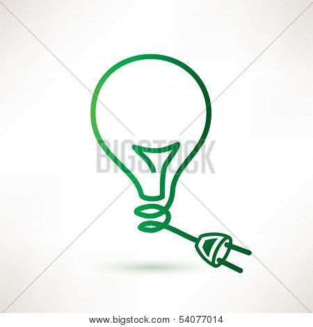Green Bulb With Plug, Abstract Vector Icon