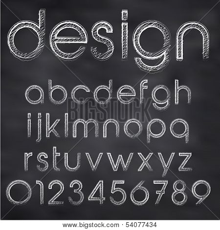 Chalk Sketched Font On Blackboard