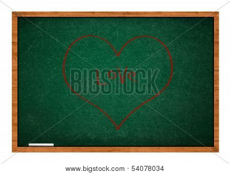 Heart On Green Chalkboard