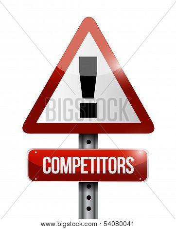 Competitors Warning Road Sign Illustration