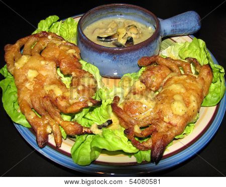 Soft shell crab tempura with steamer bisque
