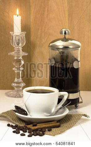 Cup Of Coffee, Chocolate And Cinnamon