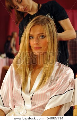 NEW YORK NY - NOVEMBER 13: Constance Jablonski backstage at the 2013 Victoria's Secret Fashion Show
