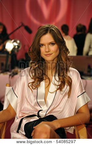 NEW YORK NY - NOVEMBER 13: Model Kasia Struss backstage at the 2013 Victoria's Secret Fashion Show